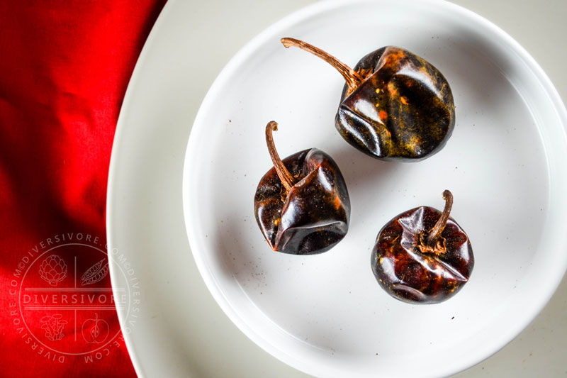 Cascabel Chilies, or rattle chilies - dried, round, moderately hot chili peppers - Diversivore.com