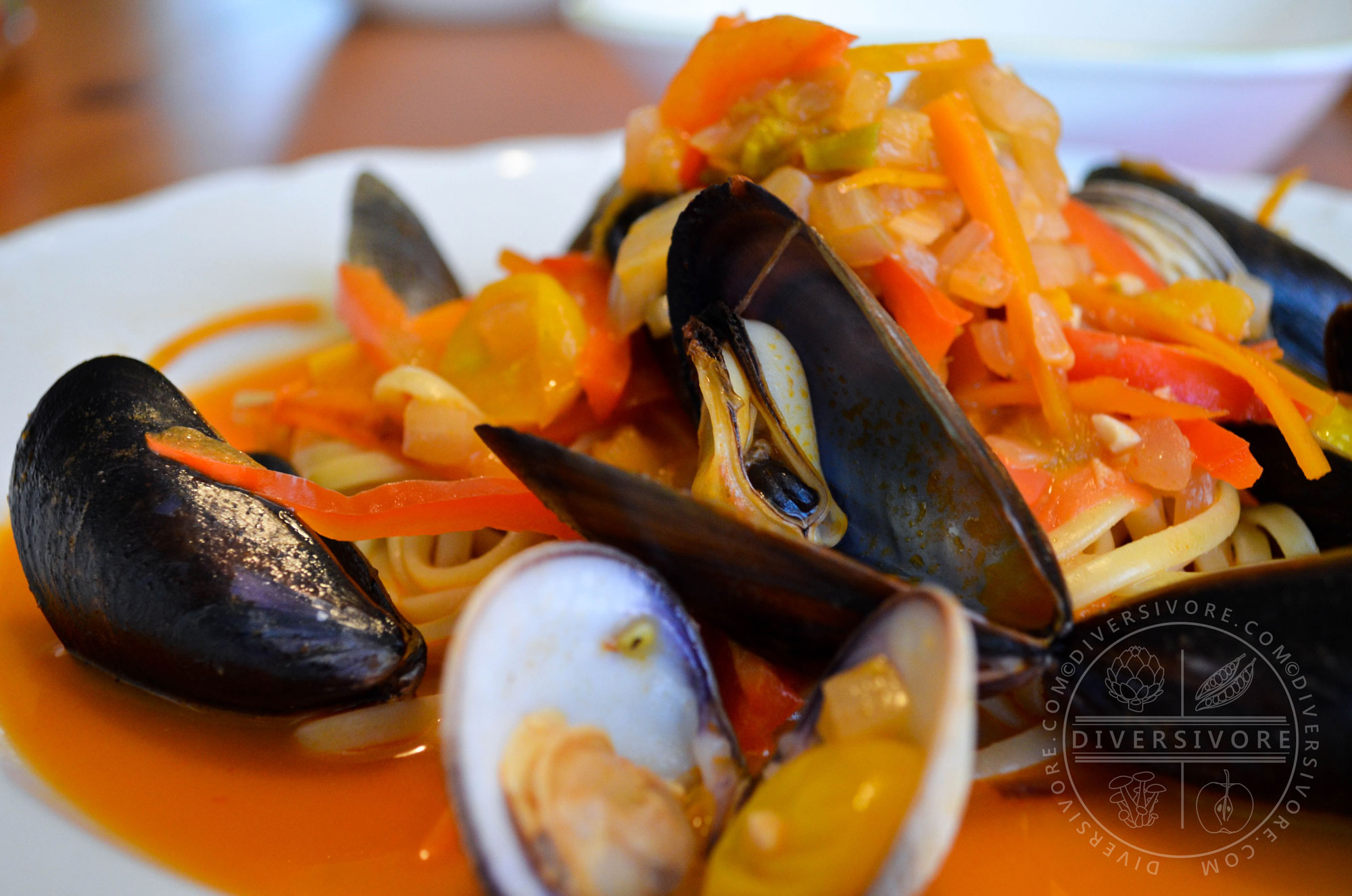San Diego Mussel and Clam Linguine with coconut milk and squash blossoms - Diversivore.com
