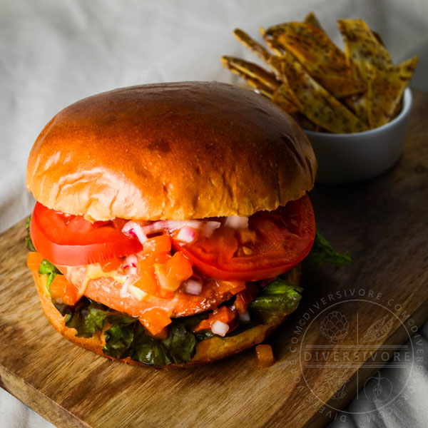 Fresh Salmon Burgers with Apricot Relish and Quadruple-M Sauce