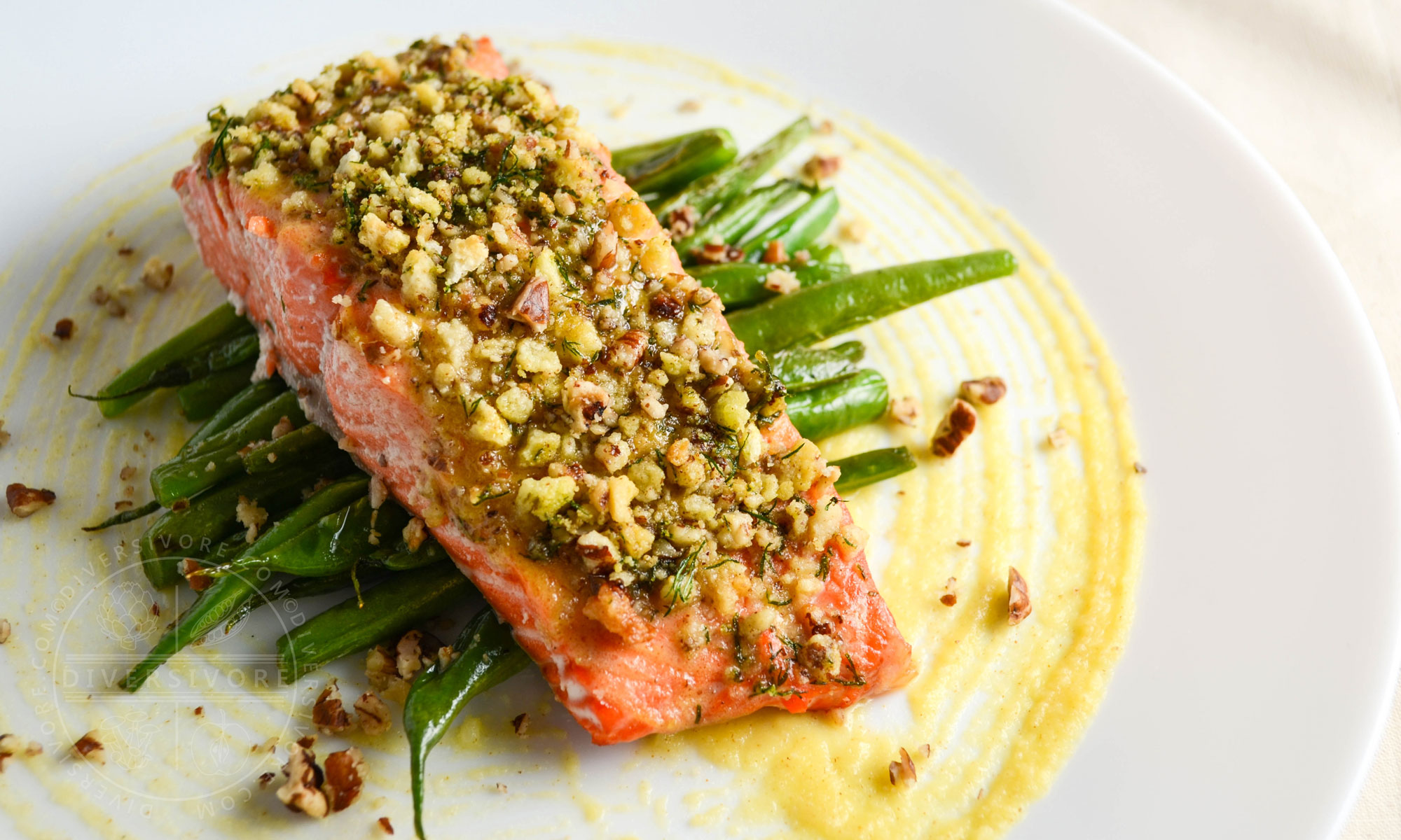 Honey and Dijon Baked Salmon with Pecans and Dill - served here with pan-fried buttered green beans - Diversivore.com