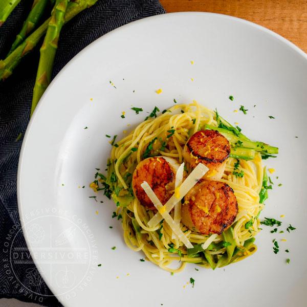 Scallops & Asparagus with Lemon Spaghettini