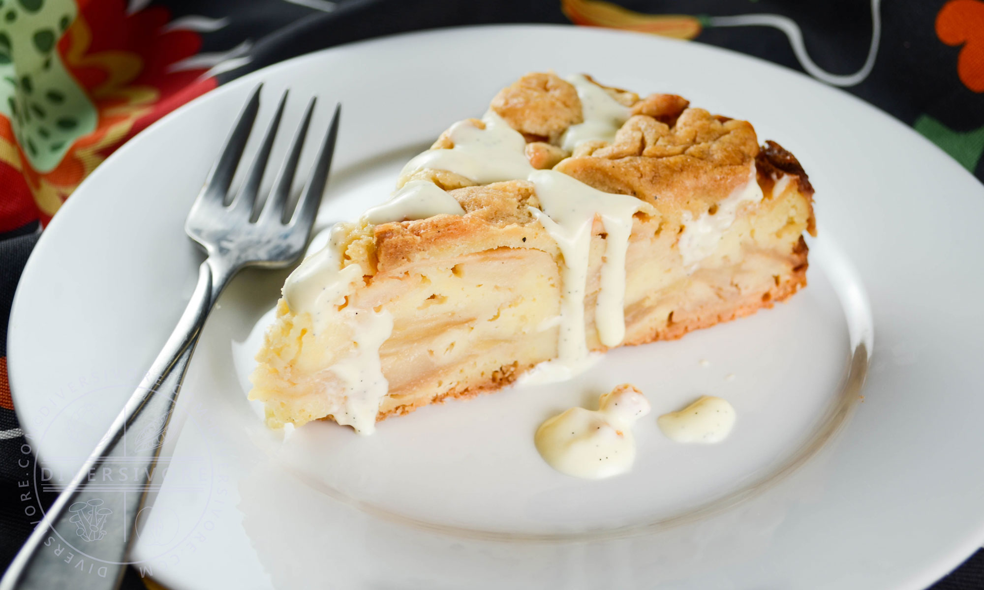 Swedish Apple Cake (or Swedish Apple Pie) - a simple pie crust bottom, apple and almond filling, and deliciously simple vanilla sauce - Diversivore.com