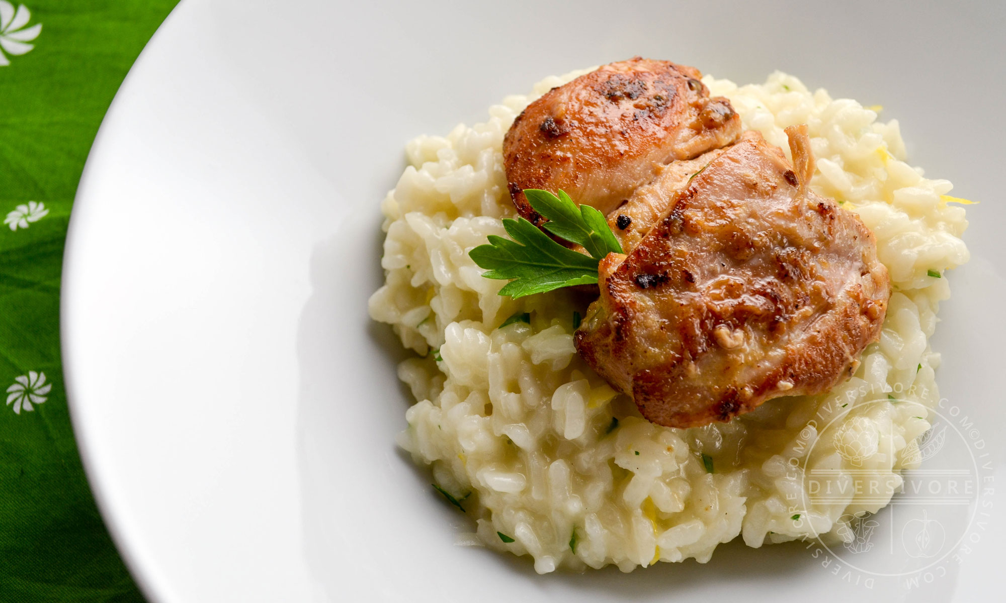Ginger and karashi mustard chicken, shown here on a bed of Japanese lemon-herb risotto - Diversivore.com