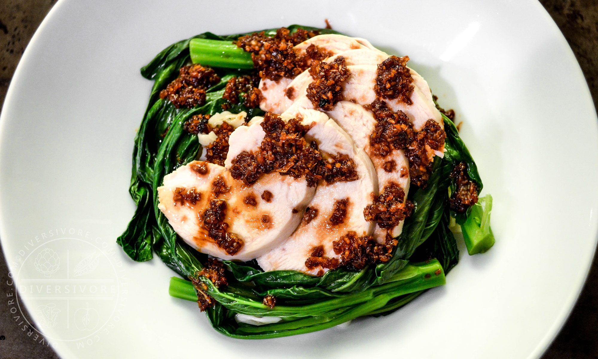 Poached Chicken and Choy Sum (Hakka-style) with Garlic and Ginger Sauce - Diversivore.com