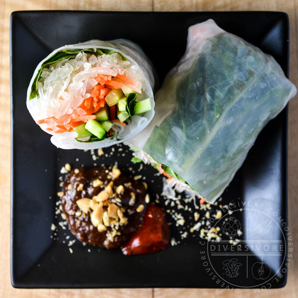 Vietnamese Salad Rolls made with white pomelo in place of the noodles