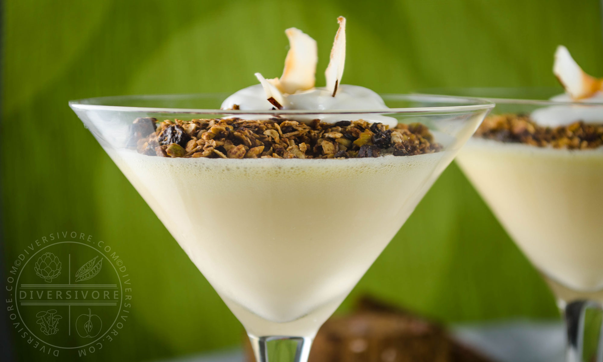Coconut Lime Mousse served with homemade granola, yogurt, and toasted coconut - Diversivore.com