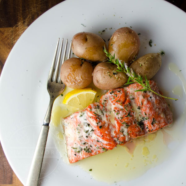 Salmon with Fresh Herbs and Lemon Garlic Butter