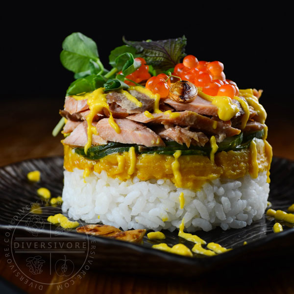 Keta Salmon Sushi Stacks with Kabocha, Cucumber, and Salmon Roe