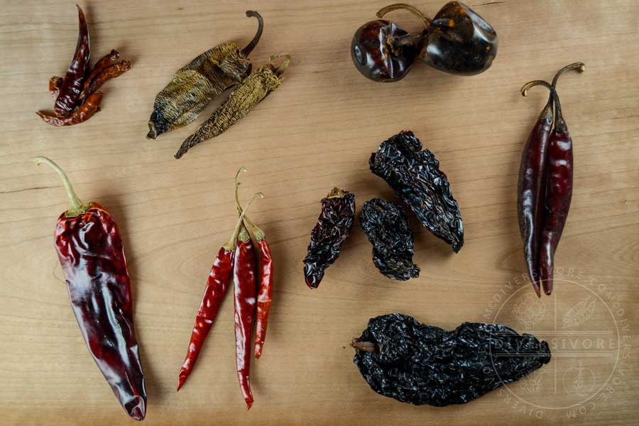 Various Mexican dried chilies