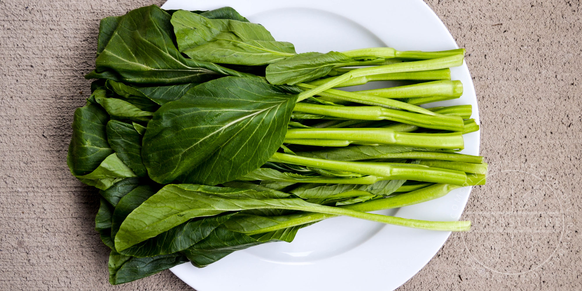 Choy sum bunch on a white plate - Diversivore.com
