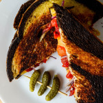 Grilled cheese with pickled sweet peppers and red onions on marble rye - Diversivore.com