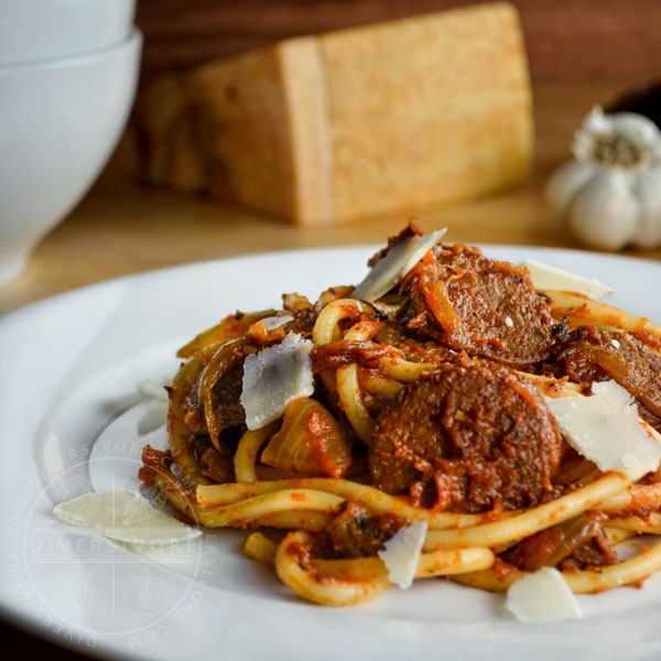 Sausage and Eggplant Bucatini with Fennel-Tomato Sauce