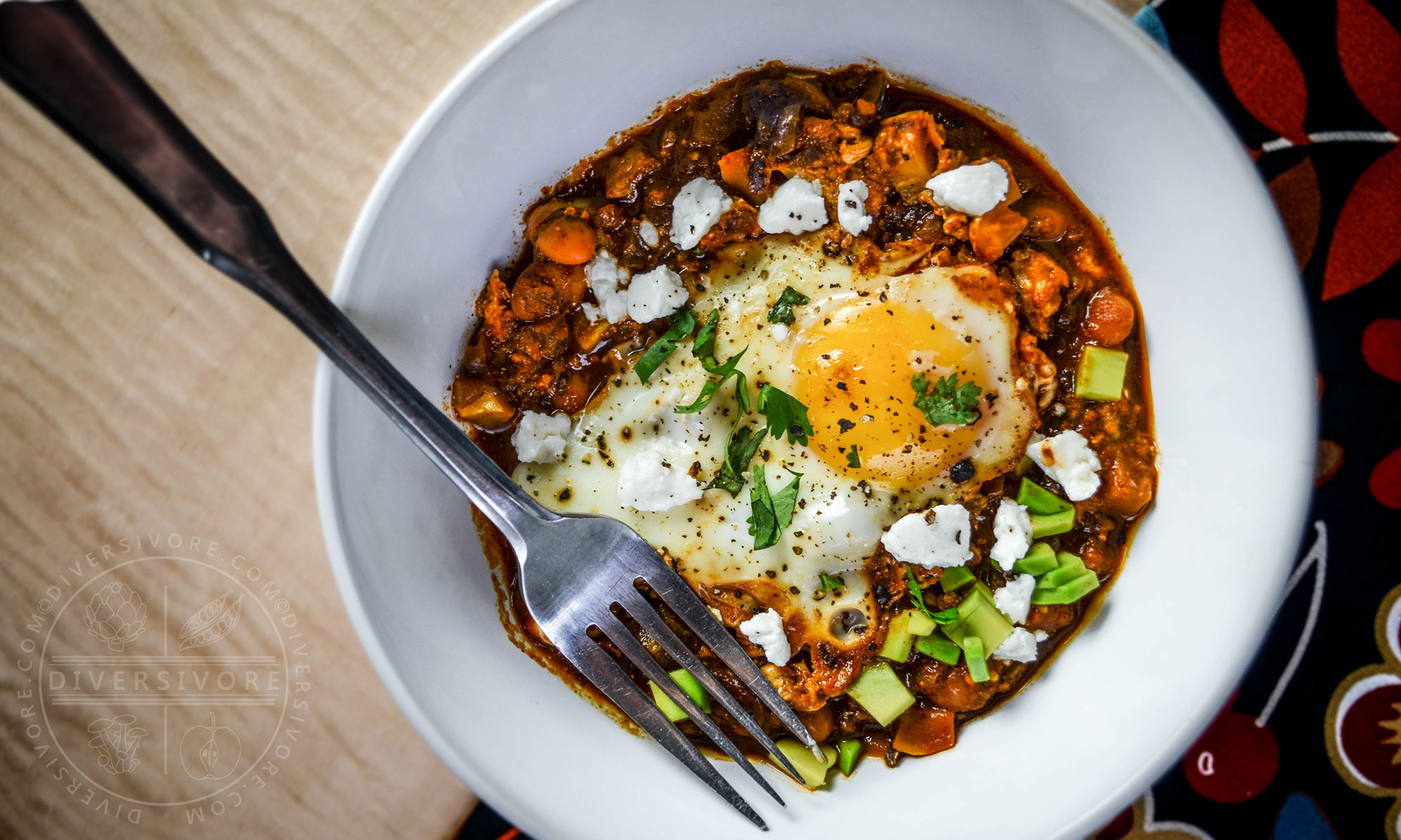 Shakshouka Rancheros - Eggs cooked in a Mexican tomato sauce