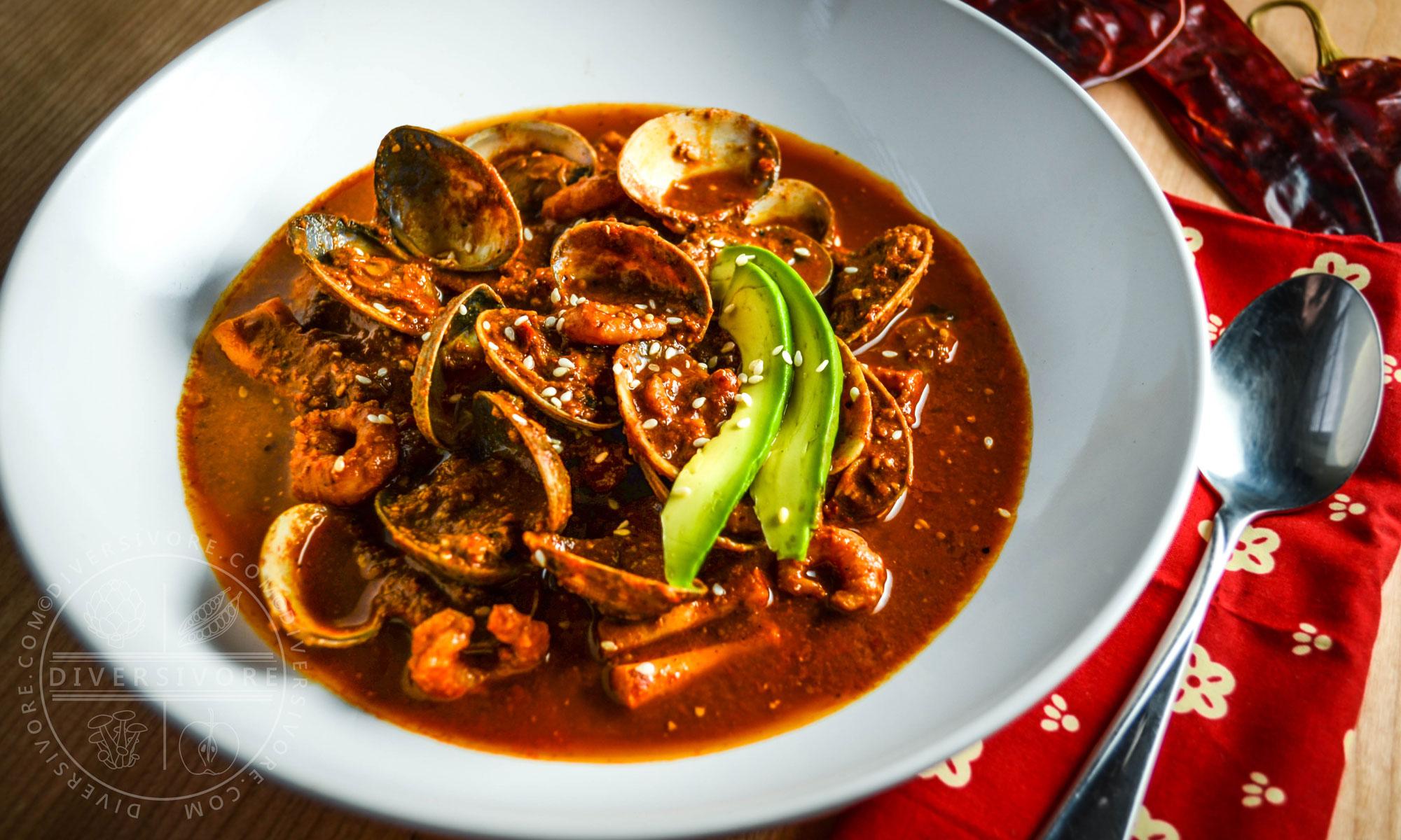 Seafood Soup with Red Pipian Sauce - Diversivore.com