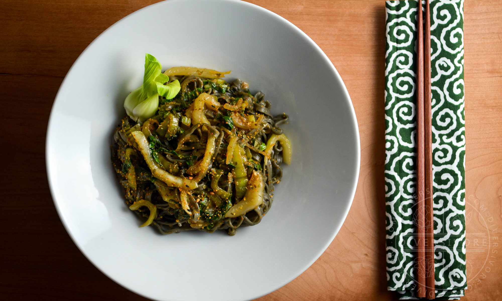 Garlic and Lemon Bok Choy with Black Sesame Noodles - Diversivore.com