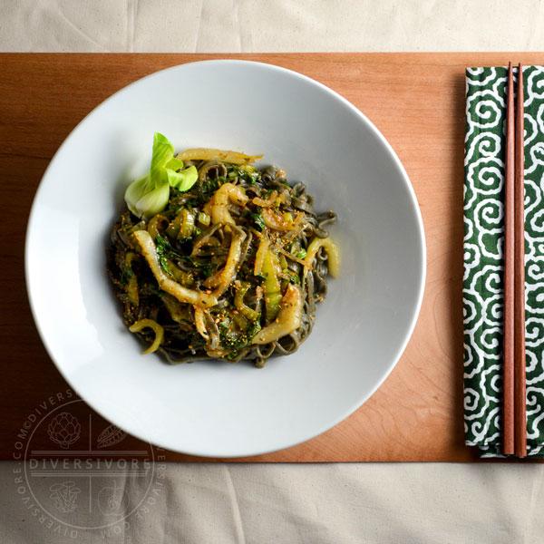 Garlic and Lemon Bok Choy with Black Sesame Noodles
