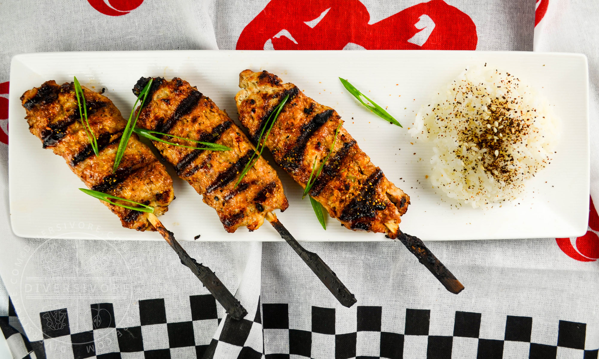 Allergy-friendly Chicken Tsukune (Japanese chicken meatball skewers) made without wheat, dairy, or eggs - Diversivore.com