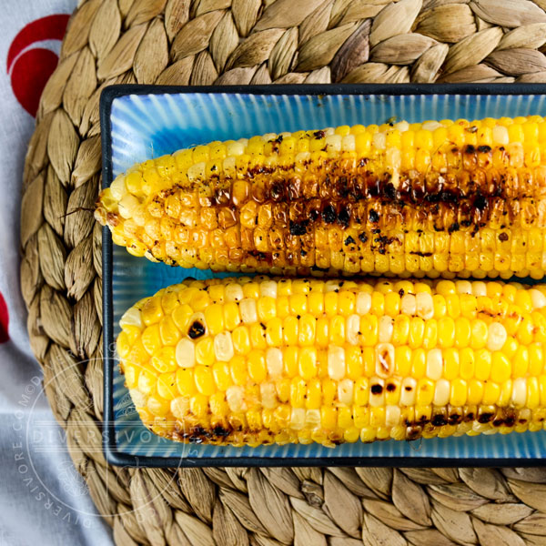 Sweet corn grilled with butter, miso, and shio koji - Diversivore.com