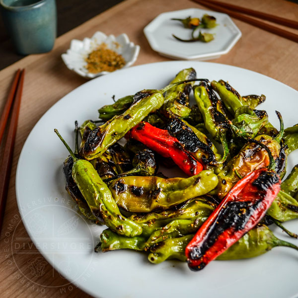 Charred Shishito Peppers with Sweet Togarashi Spice