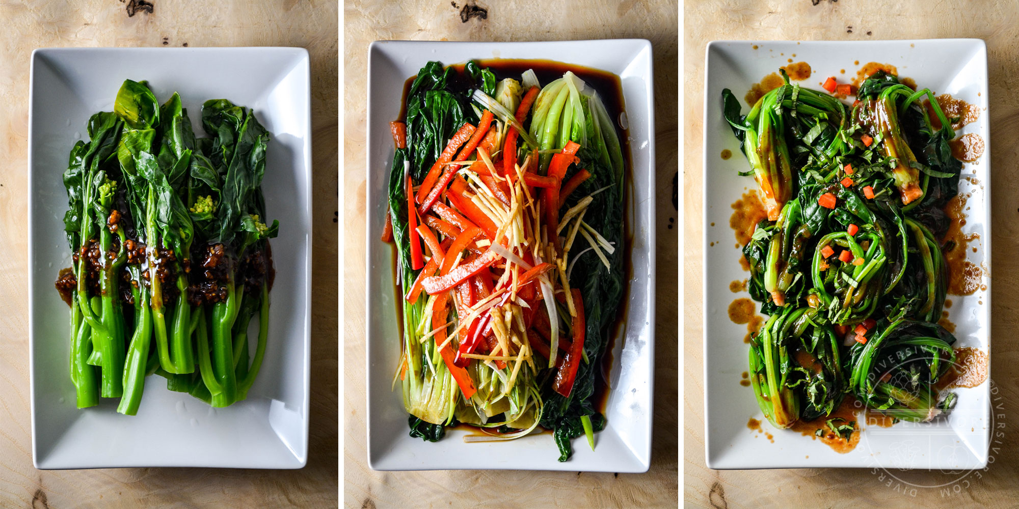 Triptych of three blanched Chinese greens served with different sauces - Diversivore.com