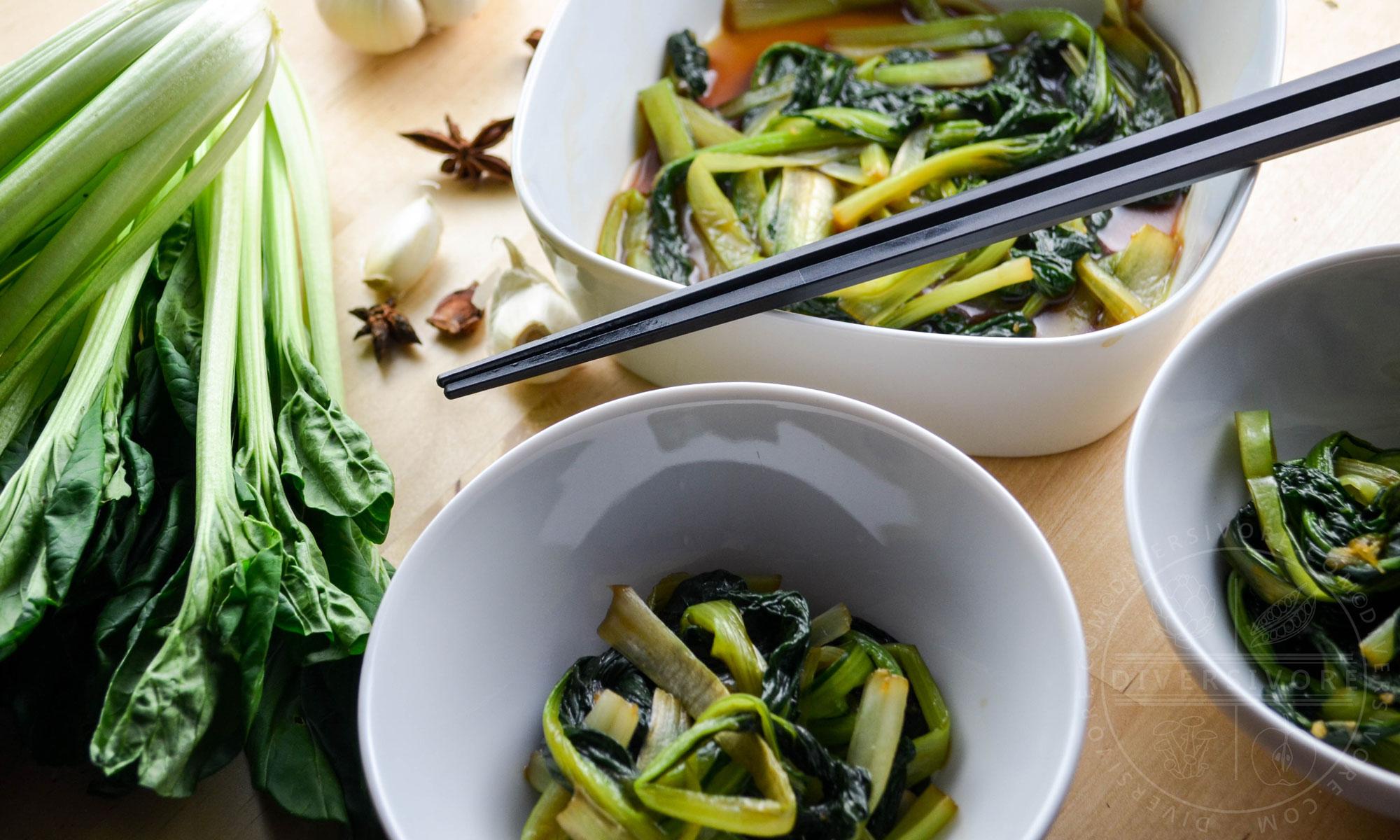 Universal Chinese Greens - Braised Tatsoi - Diversivore.com