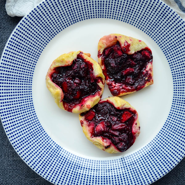 Dewberry and Apple Puff Pastry Tarts