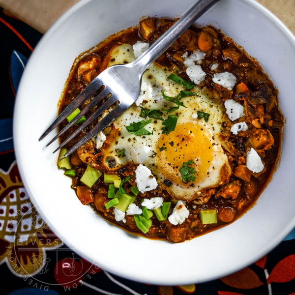 Shakshouka Rancheros - Eggs cooked in a Mexican-spiced tomato sauce
