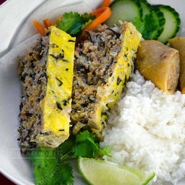 Vietnamese Egg Meatloaf (Chả trứng hấp) with broken rice and spring rolls.