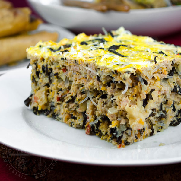 Vietnamese Egg Meatloaf (Chả Trứng Hấp) made with seafood, pork, noodles, eggs, and wood ear mushrooms - Diversivore.com