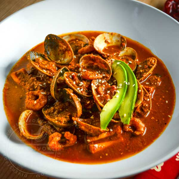 Mexican Seafood with Red Pipian Sauce - Diversivore.com
