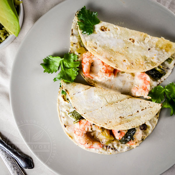 Spot prawn and raja enchiladas with a creamy buttermilk sauce