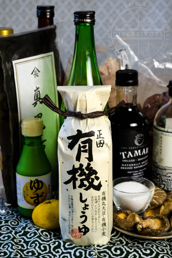 Various ingredients used to make ponzu shoyu