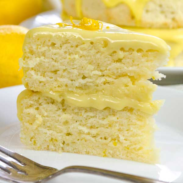 "Dairy-free lemon ""whip"" cake and lemon curd"