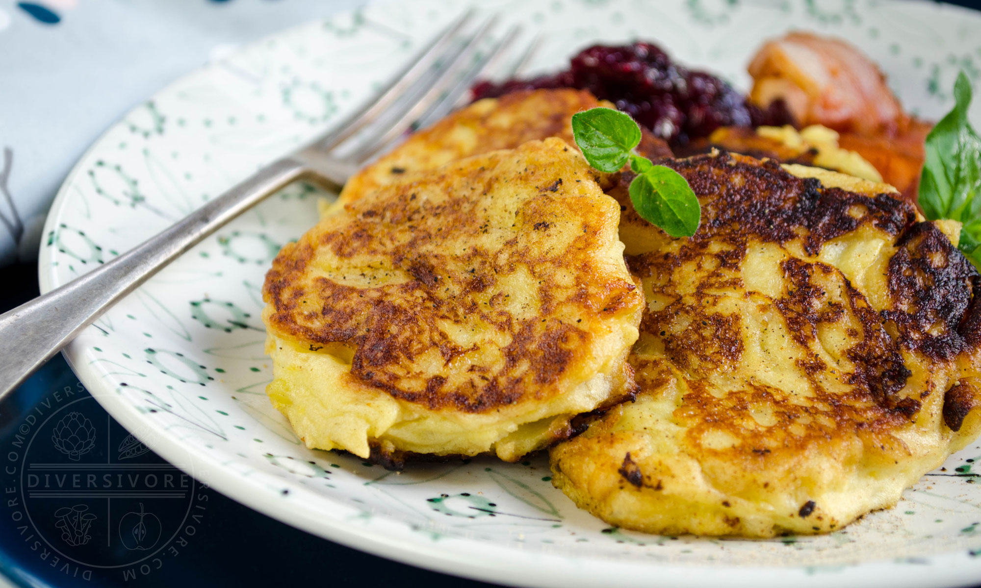 Potatisbullar - Swedish potato cakes, served with cranberries and bacon