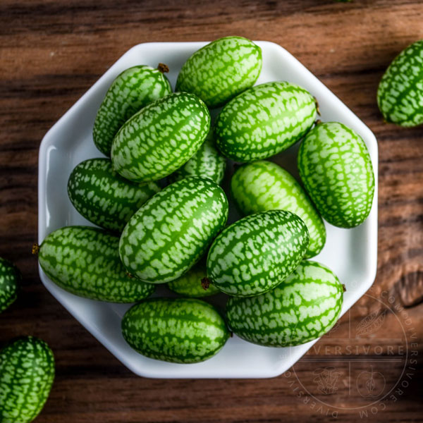 Cucamelons on a small octagonal plate